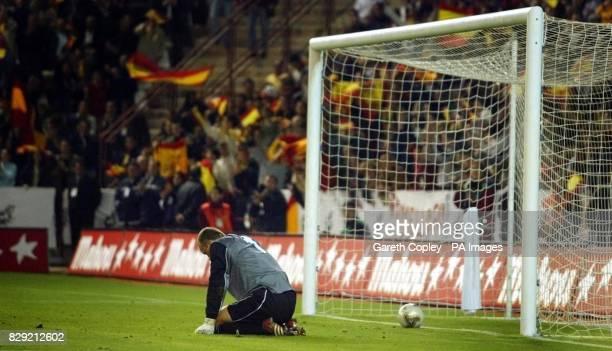 Northern Ireland goalkeeper Maik Taylor after being beaten by Spain's third goalscorer Ruban Baraja during their 2004 European championship group...