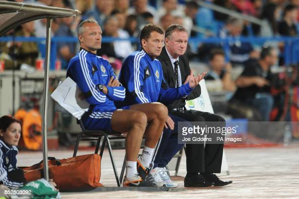 Northern Ireland manager Michael O'Neill alongside assistant manager Billy McKinlay and goalkeeping coach Maik Taylor during the FIFA 2014 World Cup...