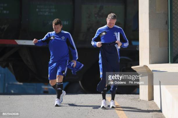 Northern Ireland manager Michael O'Neill and his assistant Billy McKinlay arrive for a training session at Baku FC Training Ground Baku Azerbaijan
