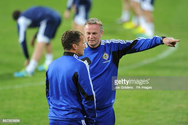 Northern Ireland manager Michael O'Neill and his assistant Billy McKinlay during the training session at the Bakcell Arena Baku Azerbaijan