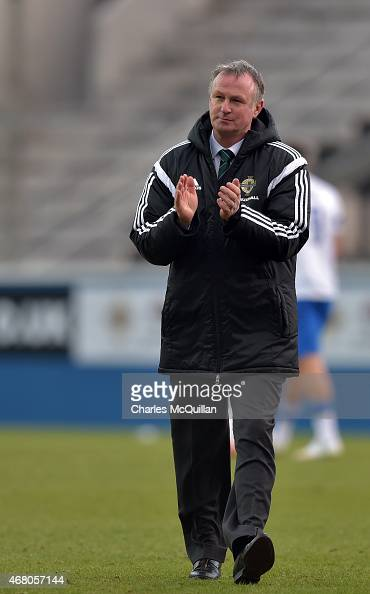 Northern Ireland manager Michael O'Neill during the EURO 2016 Group F qualifier at Windsor Park on March 29 2015 in Belfast Northern Ireland