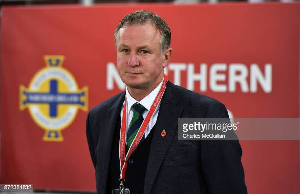 Northern Ireland manager Michael O'Neill during the FIFA 2018 World Cup Qualifier PlayOff first leg between Northern Ireland and Switzerland at...