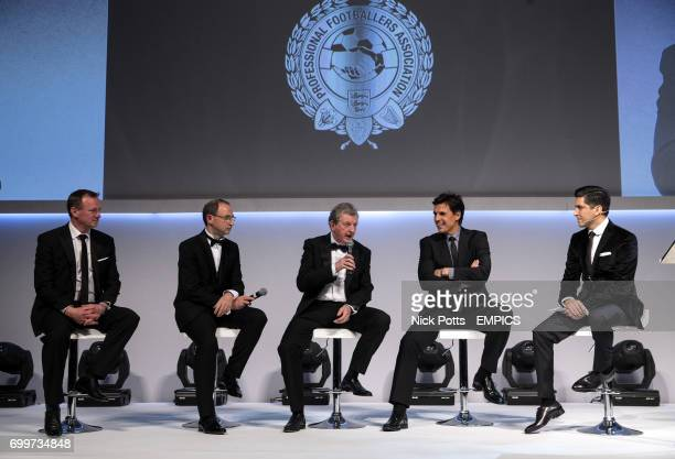 Northern Ireland Manager Michael O'Neill Ireland Manager Martin O'Neill England Manager Roy Hodgson and Wales Manager Chris Coleman with host Manish...