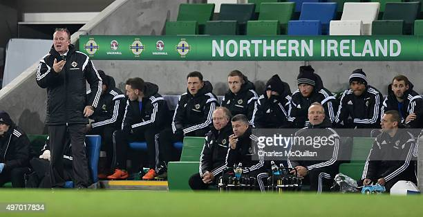 Northern Ireland manager Michael O'Neill issues instructions during the international football friendly between Northern Ireland and Latvia at...