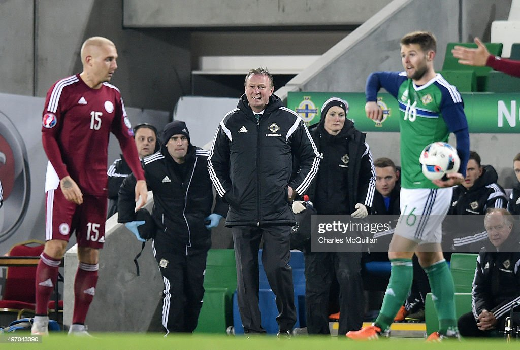 Northern Ireland manager Michael O'Neill pictured during the international football friendly between Northern Ireland and Latvia at Windsor Park on November 13, 2015 in Belfast, Northern Ireland.