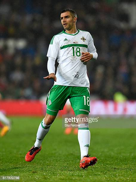 Northern Ireland player Aaron Hughes in action during the International friendly match between Wales and Northern Ireland at Cardiff City Stadium on...