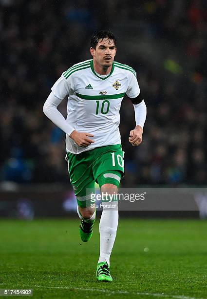 Northern Ireland player Kyle Laffertry in action during the International friendly match between Wales and Northern Ireland at Cardiff City Stadium...