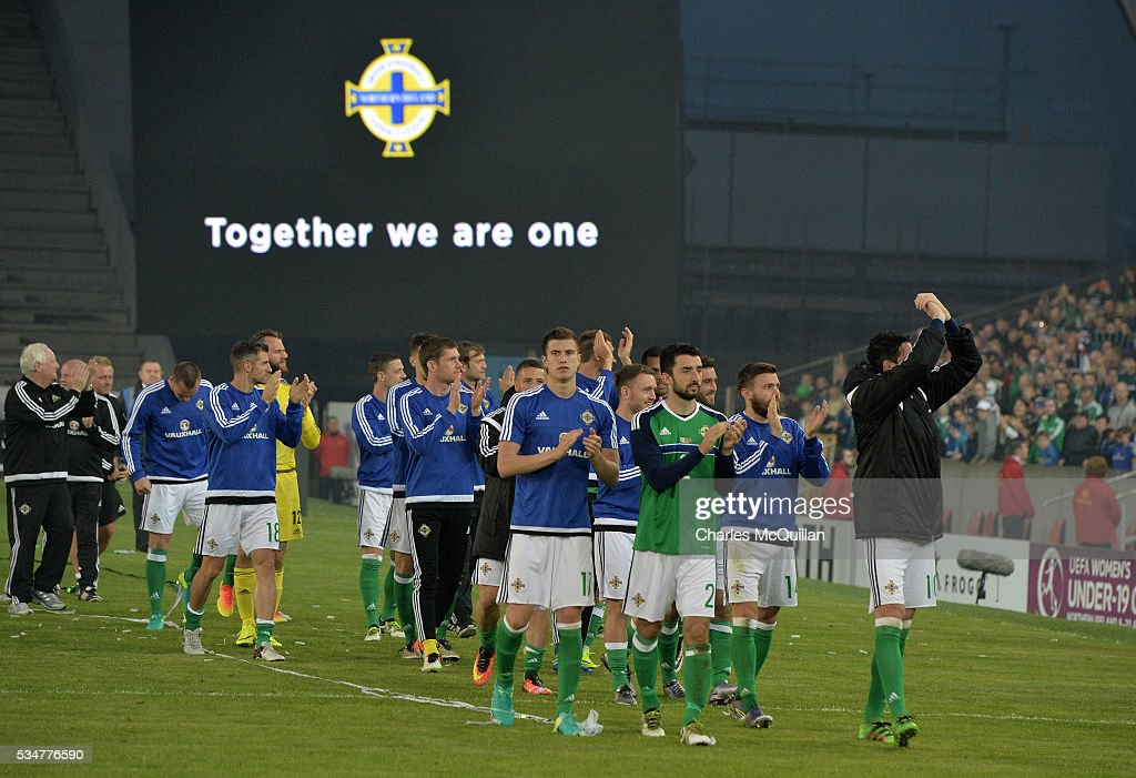 Northern Ireland players acknowledge the crowd as they make a lap around the pitch after the international friendly game between Northern Ireland and Belarus on May 26, 2016 in Belfast, Northern Ireland.
