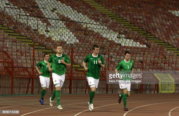 Northern Ireland players make their way out on to the pitch after the halftime interval