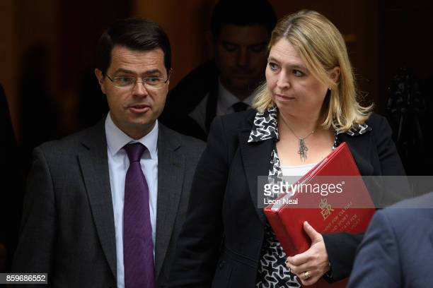 Northern Ireland Secretary James Brokenshire and Culture Secretary Karen Bradley leave Downing Street following a Cabinet meeting on October 10 2017...