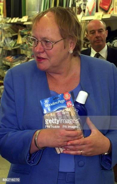 Northern Ireland secretary Mo Mowlam afterpurchasing pegs and Nivea cream for her Summer holidays whilst out campaignig in Winsford Cheshire as part...