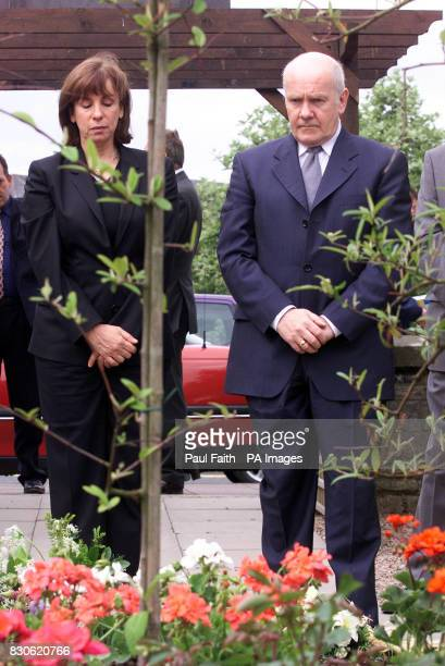 Northern Ireland Secretary of State Dr John Reid joined by his parther Carine Adler on his first visit to the town paying his respects in the...