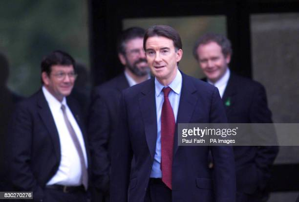 Northern Ireland Secretary of State Peter Mandelson has a brief chat with Sinn Fein members Pat Doherty Gerry Adams and Martin McGuinness as Mr...