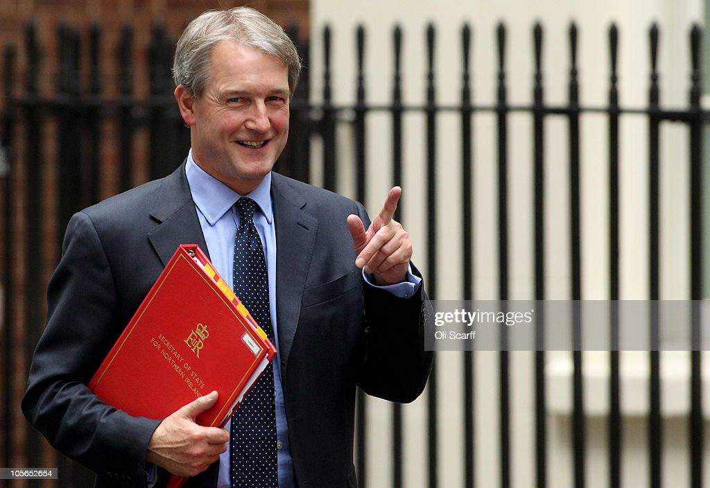 Northern Ireland Secretary Owen Paterson leaves Downing Street following a Cabinet meeting on October 18 2010 in London England Bosses of 35 of the...