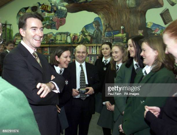Northern Ireland Secretary Peter Mandelson speaks to pupils at the Victoria College in Belfast where he urged The Ulster Unionist Council to vote for...