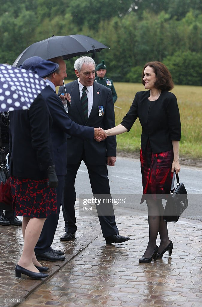 Northern Ireland Secretary Theresa Villiers arrives at the Ulster Memorial Tower during a service to mark the 100th anniversary of the start of the battle of the Somme on July 1, 2016 in Thiepval, France. The event is part of the Commemoration of the Centenary of the Battle of the Somme at the Commonwealth War Graves Commission Thiepval Memorial in Thiepval, France, where 70,000 British and Commonwealth soldiers with no known grave are commemorated.