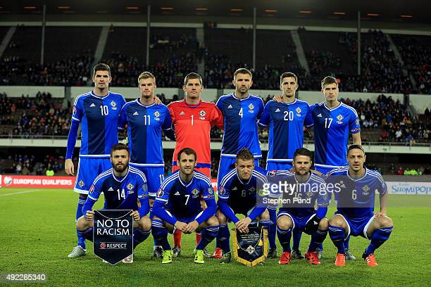 Northern Ireland team group during the UEFA EURO 2016 Qualifying match between Finland and Northern Ireland at the Olympic Stadium on October 11 2015...