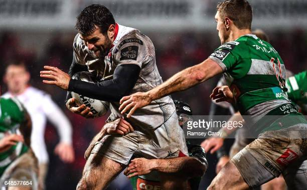 Northern Ireland United Kingdom 3 March 2017 Jared Payne of Ulster is tackled by Ian McKinley of Benetton Treviso during the Guinness PRO12 Round 17...