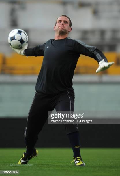 Northern Ireland's Alan Mannus during a training session at the Arena Garibaldi Stadium Pisa Italy