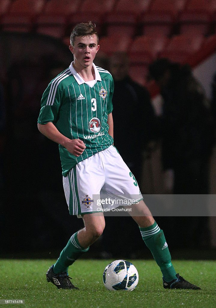 Northern Ireland's Caoimhghin Mulligan looks to attack during the Victory Shield match between England U16 and Northern Ireland U16 at Goldsands Stadium on November 08, 2013 in London, England.