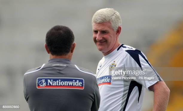 Northern Ireland's coach Nigel Worthington during a training session at the Arena Garibaldi Stadium Pisa Italy