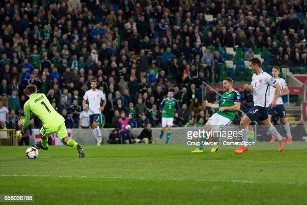 Northern Ireland's Conor Washington scores his sides second goal past Norways Rune Jarstein during the FIFA 2018 World Cup Qualifier between Northern...