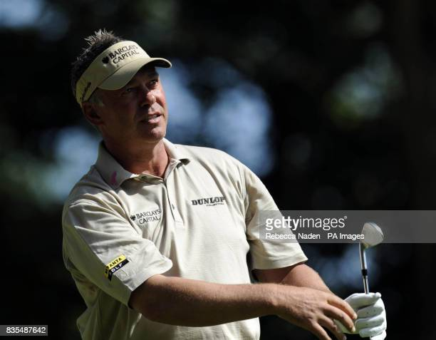 Northern Ireland's Darren Clarke tees off the 2nd hole during Round 3 of the BMW PGA Championship at Wentworth Golf Club Surrey