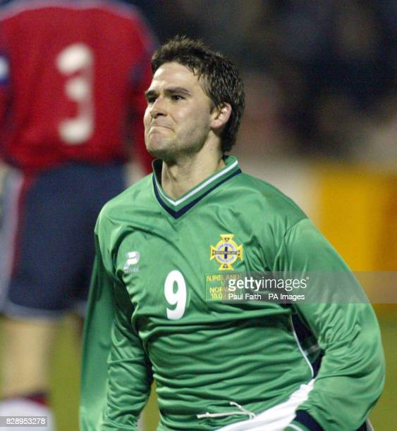 Northern Ireland's David Healy celebrate scoring the team's first goal in fourteen games during the international friendly match against Norway at...