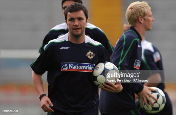 Northern Ireland's David Healy during a training session at the Arena Garibaldi Stadium Pisa Italy