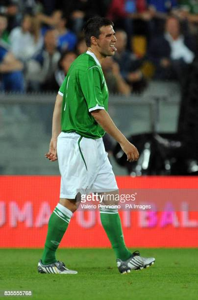 Northern Ireland's David Healy is substituted due to an injury during the International Friendly at the Arena Garibaldi Stadium Pisa Italy