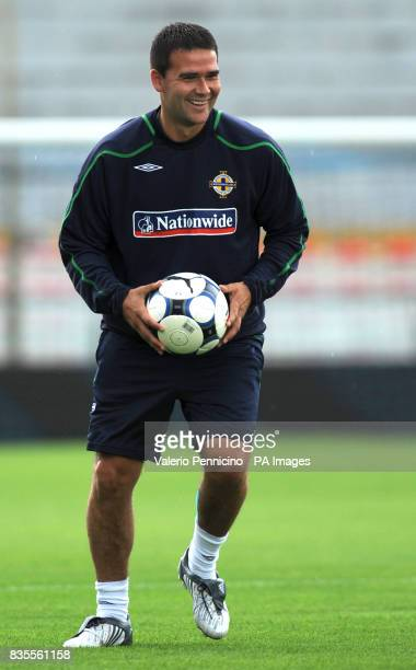 Northern Ireland's David Healy smiles during a training session at the Arena Garibaldi Stadium Pisa Italy Picture date Saturday June 6 2009 See PA...