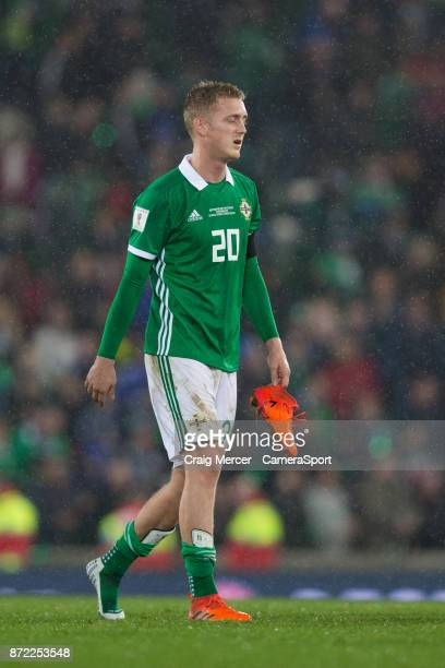 Northern Ireland's George Saville looks dejected after the FIFA 2018 World Cup Qualifier PlayOff First Leg between Northern Ireland and Switzerland...