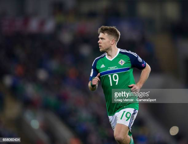Northern Ireland's Jamie Ward during the FIFA 2018 World Cup Qualifier between Northern Ireland and Norway at Windsor Park on March 26 2017 in...