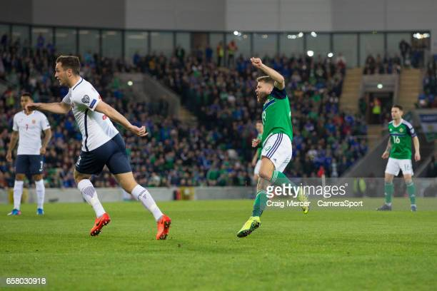 Northern Ireland's Jamie Ward scores the opening goal during the FIFA 2018 World Cup Qualifier between Northern Ireland and Norway at Windsor Park on...