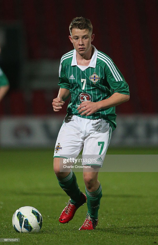 Northern Ireland's Kyle McClean looks to attack during the Victory Shield match between England U16 and Northern Ireland U16 at Goldsands Stadium on November 08, 2013 in London, England.