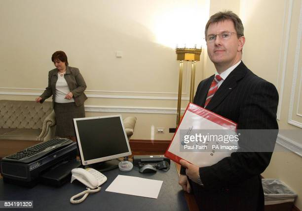 Northern Ireland's new junior minister Jeffrey Donaldson in his new office at Parliament Buildings Stormont Belfast