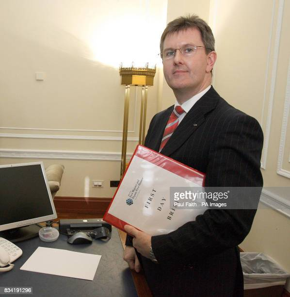 Northern Ireland's new junior minister Jeffrey Donaldson in his office at Parliament Buildings Stormont Belfast