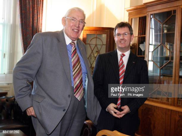 Northern Ireland's new junior minister Jeffrey Donaldson with First Minister Ian Paisley at Parliament Buildings Stormont Belfast