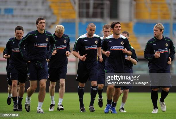 Northern Ireland's players during a training session at the Arena Garibaldi Stadium Pisa Italy