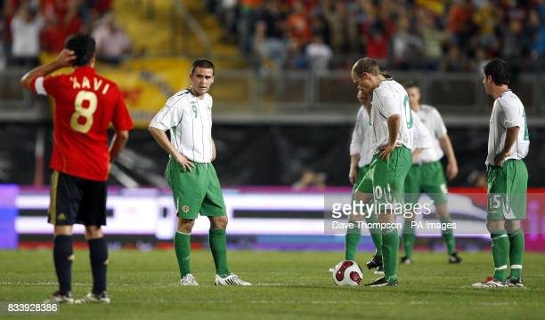 Northern Ireland's players prepare to kick off after Spain's Hernandez Xavi scored during the UEFA European Championship Qualifying match at Estadio...