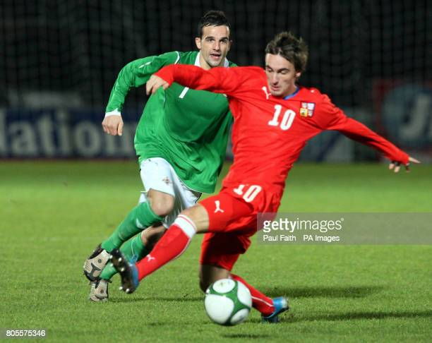 Northern Ireland's Robbie Weir battles for the ball with the Czech Republic's Martin Zeman during the UEFA Under21 Championship Qualifying match at...