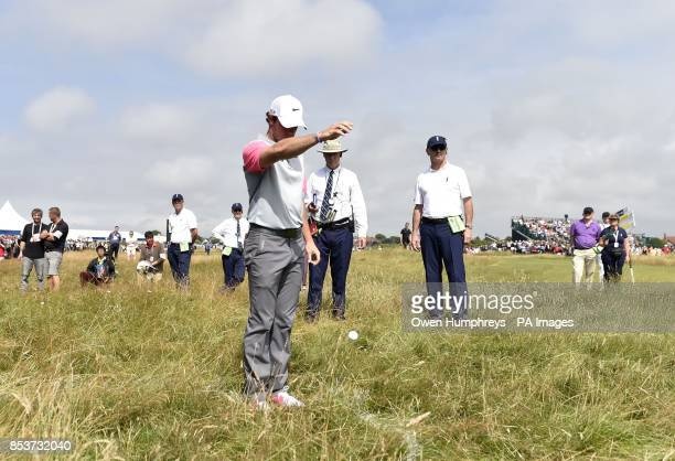 Northern Ireland's Rory McIlroy in the rough on the 5th hole during day four of the 2014 Open Championship at Royal Liverpool Golf Club Hoylake