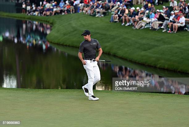 Northern Ireland's Rory McIlroy lines up a putt on the 16th green during Round 1 of the 80th Masters Golf Tournament at the Augusta National Golf...