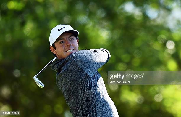 Northern Ireland's Rory McIlroy tees off during Round 2 of the 80th Masters Golf Tournament at the Augusta National Golf Club on April 8 in Augusta...