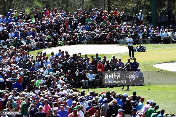 Northern Ireland's Rory McIlroy tees off on the 3rd hole during Round 2 of the 80th Masters Golf Tournament at the Augusta National Golf Club on...