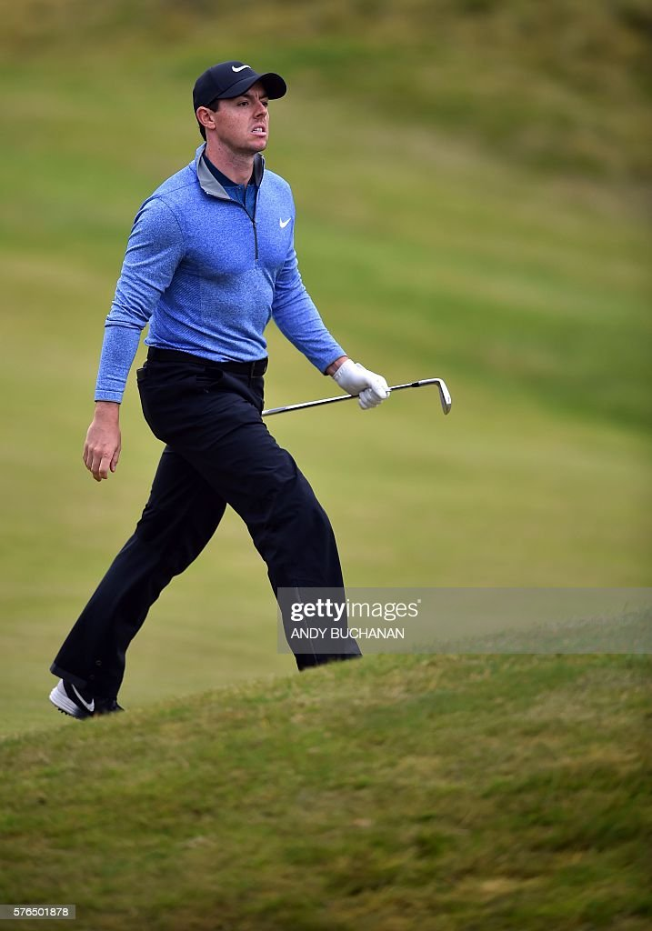 Northern Ireland's Rory McIlroy walks up the 10th fairway during his second round on day two of the 2016 British Open Golf Championship at Royal...
