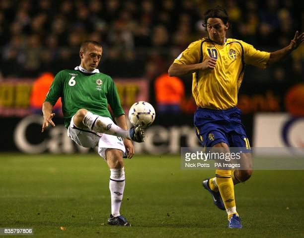 Northern Ireland's Sammy Clingan and Sweden's Zlatan Ibrahimovic