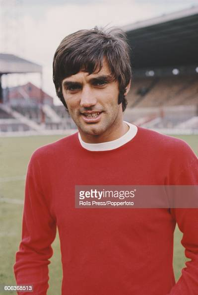 Northern Irish footballer and winger with Manchester United Football Club George Best pictured on the pitch at United's Old Trafford stadium in...