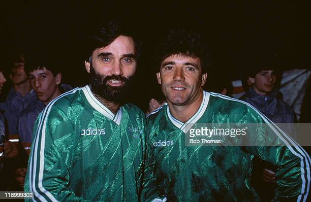 Northern Irish footballer George Best with Kevin Keegan at a testimonial match for Pat Jennings in Belfast Northern Ireland 3rd December 1986 They...