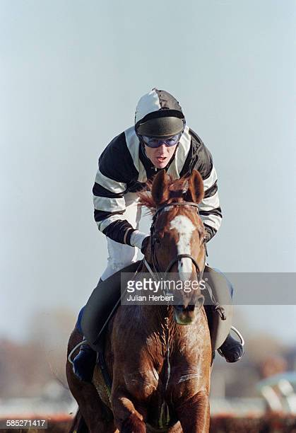 Northern Irish jockey Tony McCoy riding Hillswick to victory in the Furlong Club Novices' Handicap Hurdle at Newbury Racecourse Berkshire 12th...